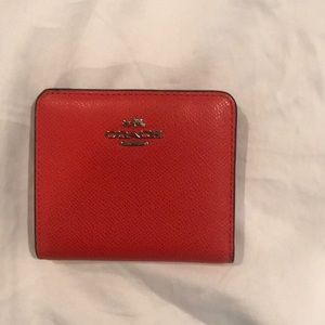 Coach red leather wallet